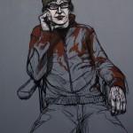 Tuomo Rosenlund: Jouni Vaaramon muotokuva, 2009. Akryyli ja öljy kankaalle. Koko: 125x110 cm.